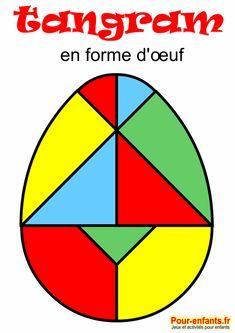 tangram oeuf de Pâques à imprimer en couleur. Pour enfants.