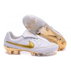 size 40 1c0f1 f9a3d Nike Tiempo R10 Ronaldinho FG Mens Soccer Boots White Gold