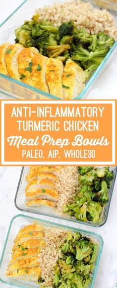 Anti-inflammatory Turmeric Chicken Meal Prep Bowls (Paleo, AIP) - Unbound Wellness - The Best Healthy Comfort Recipes Whole Foods, Whole Food Recipes, Diet Recipes, Cooking Recipes, Healthy Recipes, Paleo Cauliflower Recipes, Paleo Crockpot Recipes, Healthy Dips, Cooking Pork