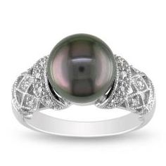 Miadora Gold Tahitian Black Pearl and TDW Diamond Ring White Gold Jewelry, White Gold Rings, Pearl Jewelry, Diamond Jewelry, Pearl Rings, Band Rings, Jewelry Rings, Tahitian Pearl Ring, Tahitian Black Pearls