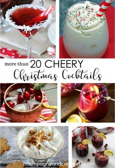 We've collected over 20 of our favorite Christmas cocktail recipes to make your holiday party planning easy! You'll find delicious cocktails, as well as great recipes for punch and sangria to serve for your Christmas dinner and parties. Craft Cocktails, Winter Cocktails, Classic Cocktails, Christmas Drinks, Holiday Cocktails, Holiday Parties, Christmas Holiday, Christmas Cocktail Party, Xmas Food