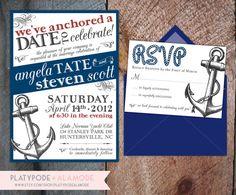 Nautical Wedding Invitation by PlatypodeAlamode on Etsy, $3.25. Cutesy, cutesy.