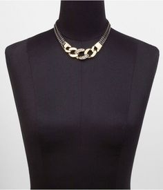 Express Womens Pave Embellished Status Link Necklace