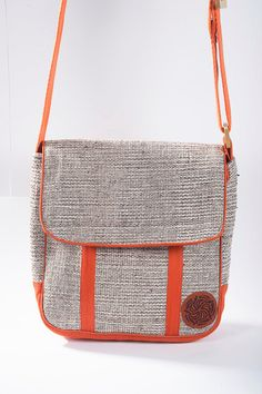 Brown Leather Messenger Bag with Handwoven Wool Andean Earth
