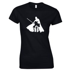 Womens T-Shirt Featuring Yoda, Darthvader, C3P0, and R2D2 , Choice of 8 T-shirt Colours, GG1025