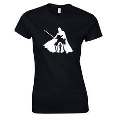 Womens T-Shirt Featuring Yoda, Darthvader, C3P0, and R2D2 , Choice of 8 T-shirt Colours, GG1025