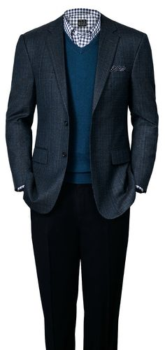 Business casual look for fall (Signature Tailored Fit Blue Glen Plaid Sportcoat).