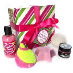 LUSH Cosmetics Christmas Candy Box. Got this this passed Christmas and loved absolutely everything...mine had Snow Fairy shower gel in it too though.