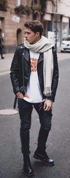 2e362a6ea42 Fall combo inspiration with a black leather jacket white printed t-shirt  white scarf black denim black doc martin boots.