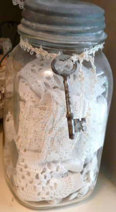 Mason Jar with Lace at Rose Garden Romantic Antique Lace, Vintage Lace, Vintage Decor, Antique Keys, Shabby Chic Stil, Shabby Chic Decor, Bottles And Jars, Glass Jars, Vintage Sewing Notions