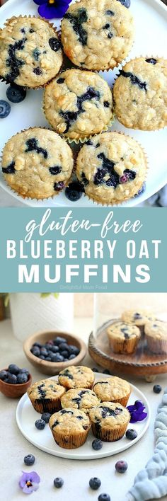 The fluffiest gluten free blueberry muffins recipe! These healthy and easy blueberry oat muffins are seriously the best gluten-free muffins! They are also dairy-free and packed with fiber juicy blueberries rolled oats and a hint of lemon zest. Healthy Gluten Free Recipes, Gluten Free Oats, Gluten Free Baking, Gluten Free Blueberry Muffins, Blue Berry Muffins, Baking Cookbooks, Dairy Free Yogurt, Vegan Snacks, Paleo Sweets