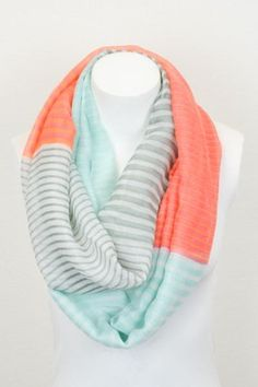 (Actually looks easy to make!) Coral Pashmina Infinity Scarves with Pastel Stripes and Color Blocking, Infinity Scarf, Orange Scarves, Yellow Scarves Coral Scarf, Orange Scarf, Mint Coral, Cute Scarfs, Clutch, A Boutique, Glamour, Passion For Fashion, Style Me