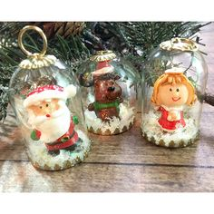 Three Tiny Treasures Miniature Christmas Ornaments or Pendant... ($12) ❤ liked on Polyvore featuring home, home decor, holiday decorations, santa ornaments, santa claus ornaments, miniature christmas ornaments and glitter christmas ornaments