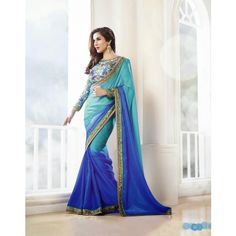 Sophie Choudry Blue And Turquoise Saree #saree #sarees #designersaree #indianfashion #partywear #onlineshopping