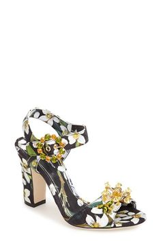 Free shipping and returns on Dolce&Gabbana 'Orange Blossom' Ankle Strap Sandal (Women) at Nordstrom.com. A gorgeous floral print accentuated by radiant crystals at the vamp and buckle lend this Dolce&Gabbana ankle-strap sandal all the freshness of a spring garden.