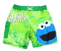 Cookie Monster Green Infant Swim Trunks Swim Shorts Features An Elastic Wait Band And A Back Pocket    Sizes 12 Months 18 months 24 Months     Made From 100% Polyester     Label Sesame Street     Licensed Sesame Street Elmo Apparel     Warehouse Location The Woodlands Texas     Shipping Charges Free Shipping     In Stock Ships In 2-3 Business Days