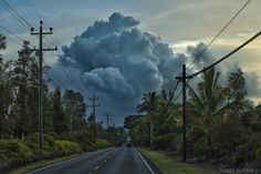 Lava plume over Pahoa, Hawaii (natural+disasters clouds sunrise+sunset tropical ). Photo by mountainwx