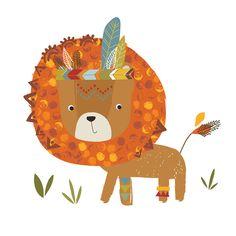 Lilipinso Wandtattoo Set 'Indianer Löwe' braun/orange 65cm - im Fantasyroom Shop online bestellen oder im Ladengeschäft in Lörrach kaufen. Besuchen Sie uns!