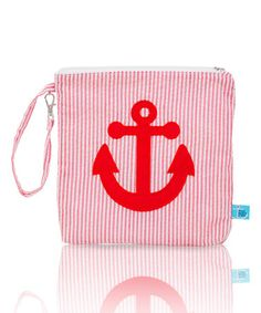 Red Anchor Seersucker Seaside Collection Snack bag Container