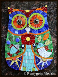 Hola! Mosaic Owl by Remygem Mosaics cool this is so pretty I mean so beautiful.