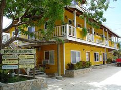 Streetside View of Beach House at Half Moon Bay, West End, Roatan Honduras