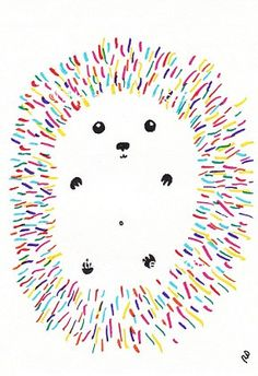 Rainbow Hedgehog, an original illustration by Littlecatdraw.    This is an archival print of my original illustration, printed with vibrant pigment