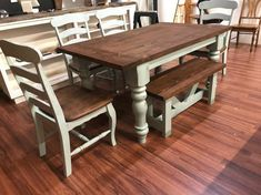 The Turned Leg table is beautifully constructed with solid wood made with handcrafted legs made to give you that antique yet modern Farmhouse look. Farmhouse Table With Bench, Farmhouse Kitchen Tables, Farmhouse Ideas, Kitchen Chairs, Farmhouse Decor, Folding Kitchen Table, Refinishing Kitchen Tables, Cottage Furniture, Rustic Furniture