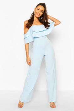 Womens Off The Shoulder Tailored Jumpsuit - blue - 10 Blue Jumpsuits, Jumpsuits For Women, Tailored Jumpsuit, Formal Jumpsuit, Two Piece Jumpsuit, Jumpsuit Outfit, Lingerie, Teen Fashion Outfits, Cute Casual Outfits