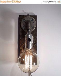 ON SALE Weathered sconce light lamp-Unique wall light lamp-Steampunk wall light lamp-Edison bulb sconce-Bedside wall lamp-Rustic wall lighti by UrbanIndustrialCraft on Etsy https://www.etsy.com/listing/198356727/on-sale-weathered-sconce-light-lamp