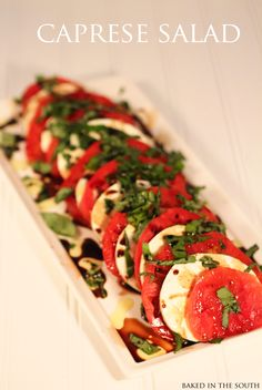Caprese Salad   Print Ingredients 3 vine-ripe tomatoes, ¼-inch thick slices 1 pound fresh mozzarella, ¼-inch thick slices 20 to 30 leaves (about 1 bunch) fresh basil Extra-virgin...