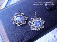 Embroidered earrings  True colors  Dreaming Grey by CraftNicheDili