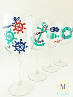 Hand Painted Nautical Set Of 4 Wine Glasses by by MimossaStudio
