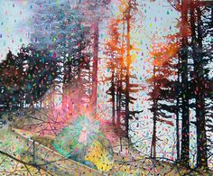 Splatter Trees: Love this mixed media piece - makes the forest come alive.