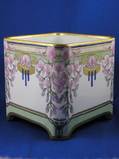 "Delinieres & Co. (D) Limoges Wisteria Motif Jardiniere/Vase (Signed by Atlan Club Artist ""R. Blomquist Berwyn, Ill.""/c.1911-1912)"