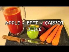 """Apple-Beet-Carrot Juice, from Fat, Sick, and Nearly Dead 1 green apple 2 peeled beets 3 large carrots 1"""" ginger 1/2 lemon"""
