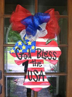 God Bless the USA Cross Door Hanger - Bronwyn Hanahan Art