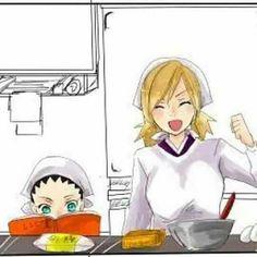 Shikadai's helping Temari at the kitchen .he's such a good boy ~~