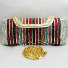 Long Multicolor Crystal Clutch Bag