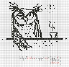 My tvorilki *** Aliolka design: Owl Cross Stitch Owl, Cross Stitch Freebies, Cross Stitch Animals, Cross Stitch Charts, Cross Stitch Designs, Cross Stitching, Cross Stitch Embroidery, Embroidery Patterns, Cross Stitch Patterns