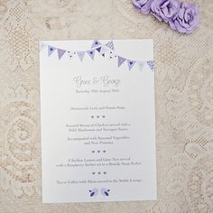 Sarah Alexis Stationery: Love Birds Collection - Table Menu, Lilac Bunting, Wedding Cake