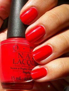 Bright Red Nails – Using OPI Cajun Shrimp Polish. Bright Red Nails – Using OPI Cajun Shrimp Polish. Toe Nail Color, Nail Colors, Trendy Nails, Cute Nails, Pedicure, Bright Red Nails, Summer Toe Nails, Winter Nails, Beauty