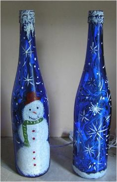 Painted Bottles With Lights Inside | lighted bottles are very popular. Ipaint any type and style of bottle ...
