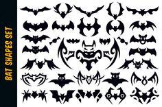 Bat Vector Shapes Set for Halloween by pixaroma on Creative Market Halloween Illustration, Pencil Illustration, Graphic Illustration, Illustrations, Bat Vector, Vector Shapes, Vampire Tattoo, Vampire Bat, Creative Sketches