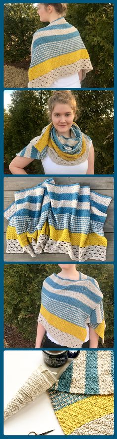 The Monday Morning shawl crochet pattern - crochet a shawl perfect for wearing on Monday mornings - spring shawl pattern - lacy shawl crochet pattern - wear as a  shoulder wrap or a scarf as well.