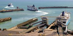 Cross-Channel Ferries leaving the Eastern Docks, Dover Harbour, Kent, England, UK. English Channel: MS Norman Bridge (LD Lines); Eastern Entrance: Pride of Canterbury (P and O Ferries), Ferry Terminal 6: Dover Seaways (Norfolk Line, DFDS Seaways). Eastern Arm Pier (left): Clipper Bordeaux oil products tanker. Southern Breakwater on the right. View from the White Cliffs of Dover. A 2010 Port of Dover Ferry, Ship, Travel, Tourism and Vacation photo. See: http://www.panoramio.com/photo/39010965
