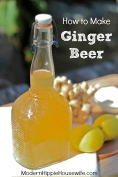 How to Make Ginger Beer - a naturally fermented, carbonated beverage, made with fresh ginger and packed with beneficial probiotics and enzymes - Modern Hippie Housewife The Complete Guide to Cocktails Cocktails Carbonated Drinks, Alcoholic Drinks, Beverages, Probiotic Drinks, Ginger Bug, Fresh Ginger, Ginger Soda, Ginger Fizz, Ginger Drink