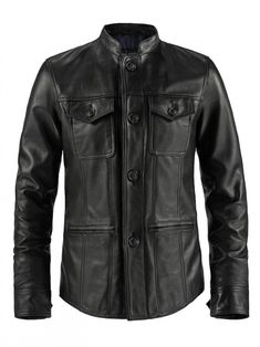 Mens Curved Shirt Style Leather Jacket