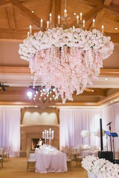 Beautiful lush pink chandelier by Nisie's Enchanted Florist