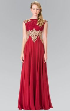 Buy the Embellished Bateau Chiffon A-Line Dress GL2228 by Elizabeth K at CoutureCandy.com, the largest selection of Elizabeth K dresses available online.