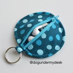 Circle Zip Earbud Pouch -I can't remember how many times my husband has misplaced his earbuds. So, in order to keep it from happening again, I made him one of these circular and functional pouches